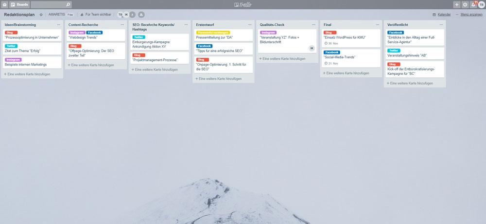 Aufbau eines einfachen Redaktionsplans in Trello