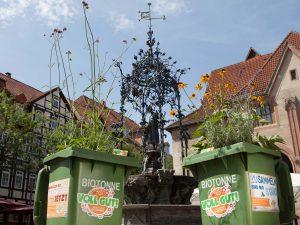 AMARETIS Agentur für Kommunikation Werbeagentur Bioabfall-Kampagne Blühende Tonnen Göttinger Entsorgungsbetriebe GEB Aktion Guerilla Gardening Gänseliesel quer